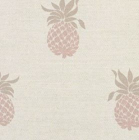 Pineapple - Pink - Pineapple patterned linen union fabric, with a fun, simple design in pale shades of grey, brown and off-white