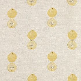 Quince - Yellow - A fun fruit design printed in neat rows on linen union fabric in light yellow and very pale cloudy grey colours