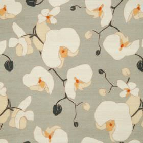 Orchid - Gris - Grey linen fabric with a modern white and light yellow flowers pattern