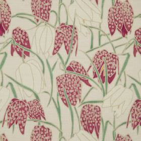Fritillary I - Natural - Natural linen fabric with a modern green leafs and cream and pink flowers pattern