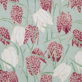 Fritillary I - Green - Green linen fabric with a modern green leafs and cream and pink flowers pattern