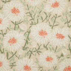 Daisies - White - Natural linen fabric with a modern green leafs and white flowers pattern