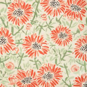 Daisies - Red - Natural linen fabric with a modern green leafs and red flowers pattern