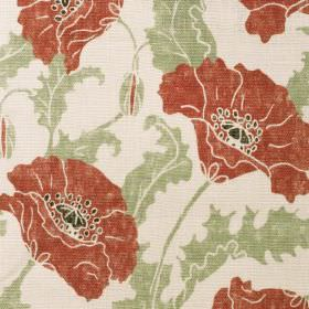 Poppies - Rouge Clair - Cream linen fabric with a modern green leafs and red popies pattern