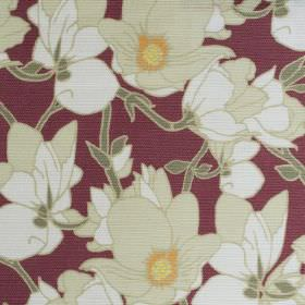 Clematis - Burgundy - Burgundy linen fabric with a modern green leafs and cream flowers pattern
