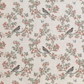 Bird In Blossom - Ivory - Ivory linen fabric with a modern green and pink leafs and birds pattern