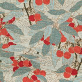 Cherries - Natural - Natural linen fabric with a modern blue leafs and red cherries pattern
