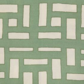 Shanghai Trellis - Grey Green - Beige linen fabric with a modern green coloured pattern