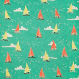 Sailboats - Green - Green cotton fabric with a modern white clouds and yellow and red sailboats print