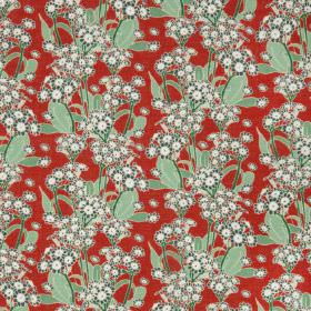 Polyanthus - Lawn - Red cotton fabric with a modern green leafs and white flowers pattern