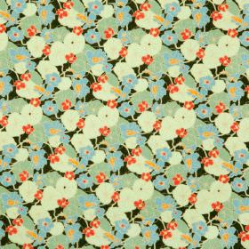 Nasturtiums - Lawn - Charcoal cotton fabric with a modern green leafs and red flowers pattern