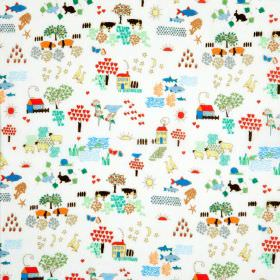 Little World - Natural - Natural cotton fabric with a chidrens multi coloured houses, animals and trees pattern