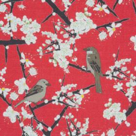 Hawthorn And Sparrows - Raspberry - Red linen fabric with a modern white flowers and birds pattern