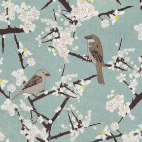 Hawthorn And Sparrows - Grey Green - Green linen fabric with a modern white flowers and birds pattern