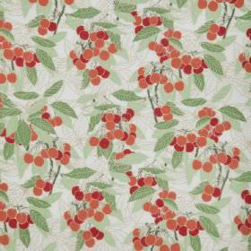 Cherries - Natural - Natural cotton fabric with a modern green leafs and red cherries pattern