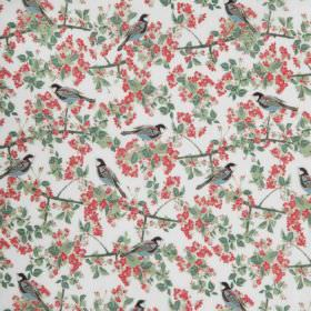 Bird In Blossom - Ivory - Ivory cotton fabric with a modern green leafs, red flowers and birds pattern