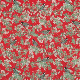 Bird In Blossom - Chinese Red - Red cotton fabric with a modern green leafs and birds pattern