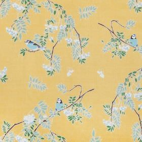 Rowan - Antique Gold - Custard yellow coloured linen fabric printed with a pattern of branches, green, blue and white leaves, & small blue t