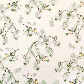 Rowan - Natural - Small yellow birds printed with brown branches and leaves in two different shades of green on off-white linen fabric