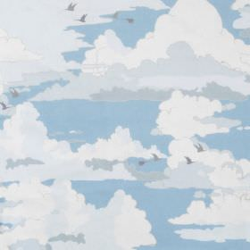 Clouds - Panama - Layers of white and grey coloured clouds with small grey birds against a light blue sky on fabric made from cotton
