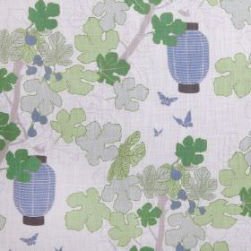 Lanterns - Natural - Linen viscose mix fabric with lanterns, branches and leaves in various pale shades of grey, blue and green