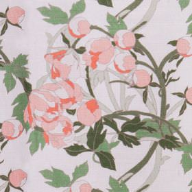 Peony - Peony - Floral patterned linen union fabric in light rose pink, with grey branches and leaves in different shades of green