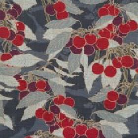 Cherries - Charcoal - Red and dark purple berries printed with simple leaves in various shades of grey in a design covering linen union fabr