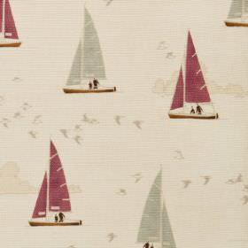 Sailboats - Natural - Natural linen fabric with a modern cream clouds and grey and red sailboats pattern