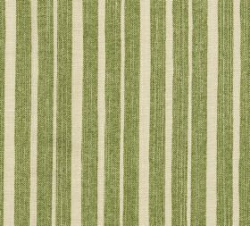 Cotton - York Stripe - Fabric made from cream and apple green coloured vertically striped 100% cotton