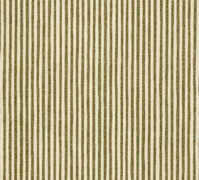 Cotton - Hertford Stripe - A regular, narrow, repeated vertical stripe design printed in cream and dark brown on fabric made entirely from c