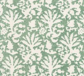 Cotton - Aylsham - A 100% cotton teal-grey coloured fabric background to an abstract leaf style pattern in plain white