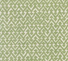 Cotton - Rabanna - 100% cotton fabric featuring a pattern of horizontal zigzags with small arrows on each point in white and apple green