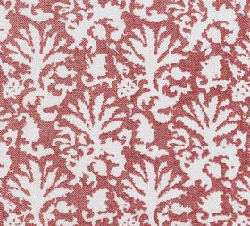 Cotton - Aylsham - Light red and white coloured 100% cotton fabric featuring an abstract design that resembles leaves