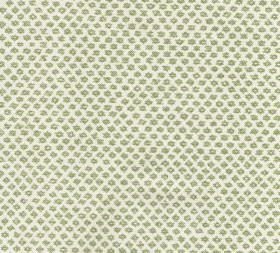 Cotton - Marden - A white 100% cotton fabric background to a tiny pattern of regular, repeated grass green coloured designs