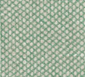 Wicker - Linen - Rows of off-white coloured uneven oval shapes against a background of mint green coloured 100% linen fabric