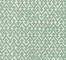 Cotton - Rabanna - Light teal and white coloured 100% cotton fabric patterned with zigzag lines which are topped with small triangle shapes