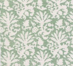 Cotton - Aylsham - Abstract white leafy designs on a light mint green coloured background made from 100% cotton fabric