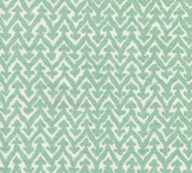 Cotton - Rabanna - Light aqua blue coloured arrows atop matching zigzags on white fabric made from 100% cotton