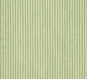 Cotton - Hertford Stripe - Thin stripes of pale yellow and apple green alternating in a vertical pattern on fabric made entirely from cotton