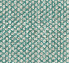 Wicker - Linen - N-097 - Small pale grey coloured uneven oval shapes against a bright turquoise coloured background made from 100% linen fab