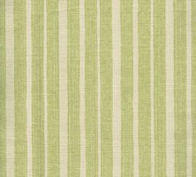Cotton - York Stripe - Vertical stripes of different widths printed in cream and light green on 100% cotton fabric