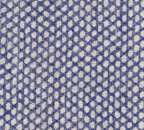 Wicker - Linen - A Royal purple coloured 100% linen fabric background to a repeated design of small, uneven oval shapes in off-white