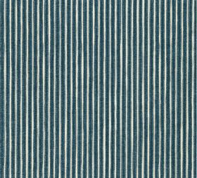 Cotton - Poulton Stripe - A classic navy blue and white narrow stripe design printed on fabric made from 100% cotton