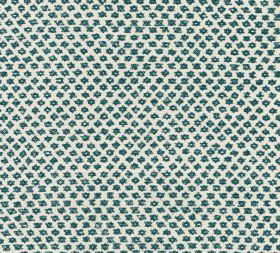 Cotton - Marden - Tiny dark turquoise coloured symbols arranged in rows over a plain white background made from 100% cotton