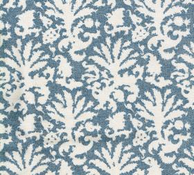 Cotton - Aylsham - Abstract leaf patterned 100% cotton fabric with simple white and denim blue colouring