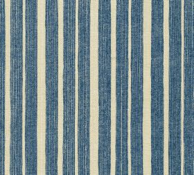 Cotton - York Stripe - Navy blue and cream coloured stripes of differing widths running vertically down 100% cotton fabric