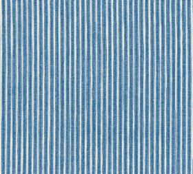 Cotton - Poulton Stripe - A simple denim blue and white vertical stripe design on fabric made entirely from cotton