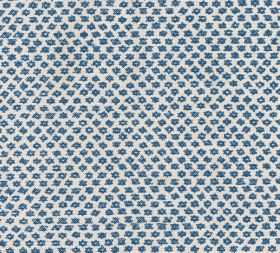 Cotton - Marden - Tiny navy blue symbols arranged in neat diagonal rows over a 100% cotton fabric background in off-white