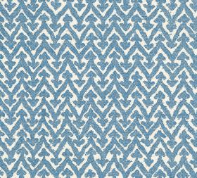 Cotton - Rabanna - Powder blue and white coloured fabric with a design of zigzags topped with small arrows, made from 100% cotton