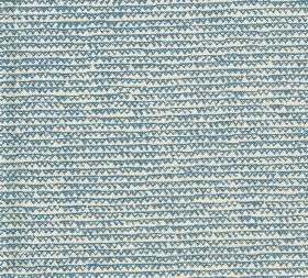 Cotton - Frome - 100% cotton fabric patterned with rows of uneven lines and tiny outlines of triangles in mid-blue on a white background